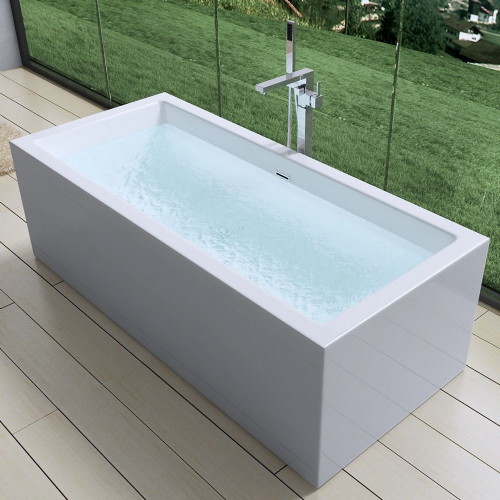 AquaSoak Square Double Ended Freestanding Bath Tub Acrylic White 1800mm x 800mm